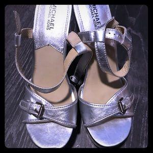 Michael Kors chunky platform silver & black heels